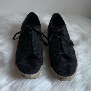 TOMS Espadrilles Black Lace Up Style
